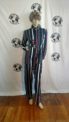 Womens Striped Jumpsuit Med Anna Herman USA