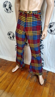Mens plaid wool fringed Bell bottom 31 X 31 high waisted pants