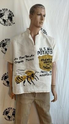 Hermans Hemp Indian bee potato farmer shirt