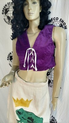 Renaissance tunic vest purple Corduroy Med Hermans Lace up