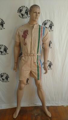 Mens Romper Organic Cotton striped nat  color