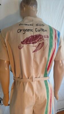 Mens jumpsuit romper L organic cotton nat color seahorse