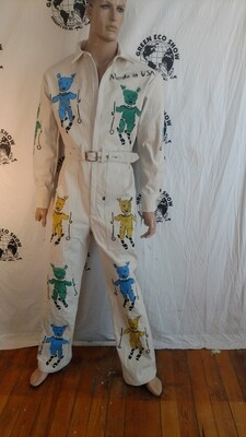 Skiing pigs mens jumpsuit  m to L Hermans Eco Canvas