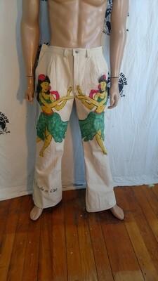 Hula Girl  Mens pants 34 x 33 airbrushed Hermans Eco Canvas