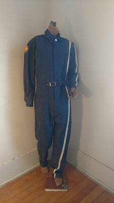 Mens denim jumpsuit S racing stripe Hermans Eco