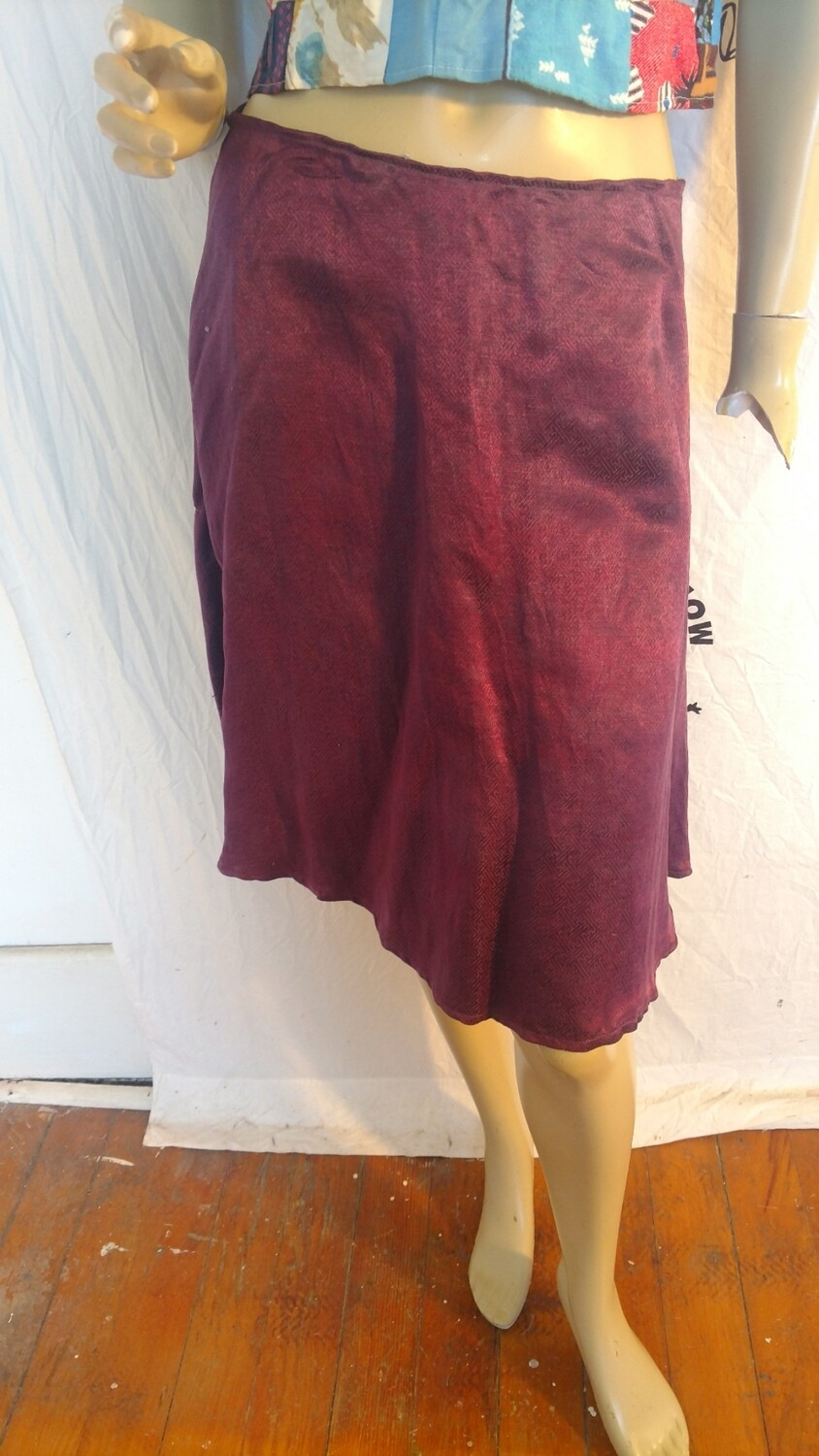 Hermans Hemp silk Jacquard hand dyed purple skirt  w 30 USA