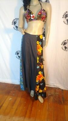 Black flower patchwork skirt w 28 M  black Hermans Eco USA