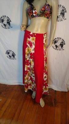 Red long Patchwork festival Skirt Hermans USA