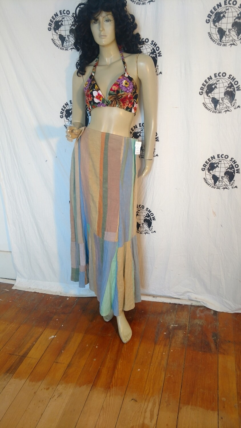 Patchwork skirt Hermans Hemp L 34 USA