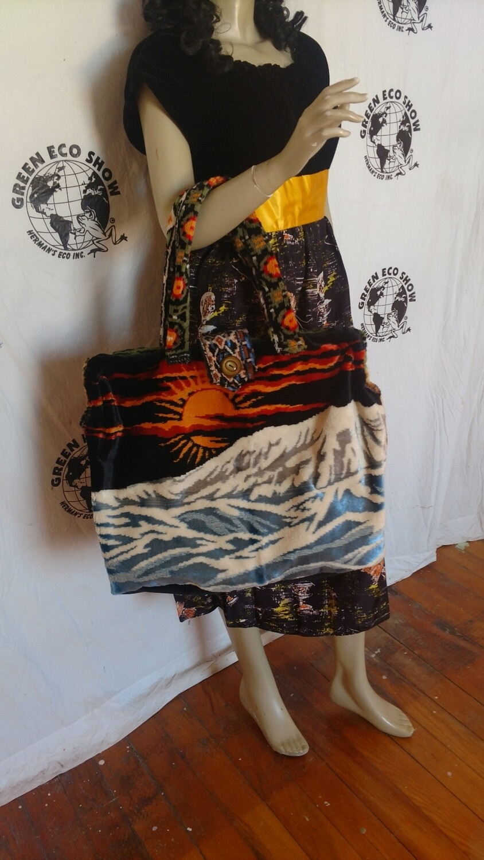 Sunset mountain river carpet bag Hermans Eco Maleta