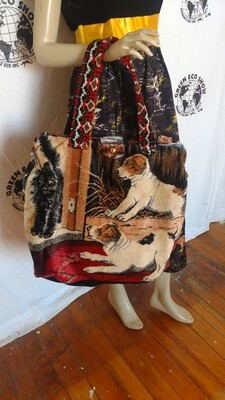 Carpet bag dogs cat sailors Hermans Eco Maleta
