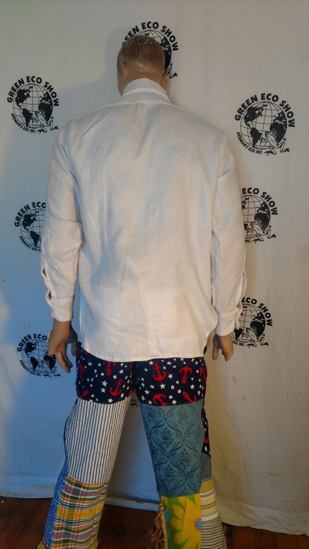 Mens repurposed tablecloth Dress shirt L Hermans
