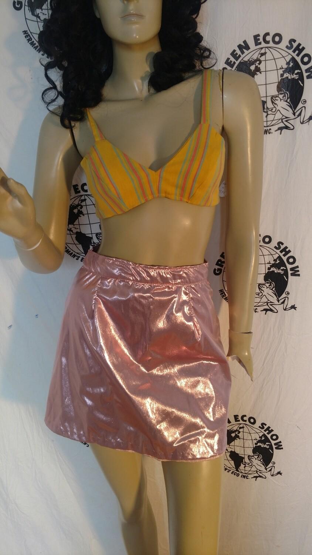 Pink Metallic mini skirt S 27 w Anna Herman lined