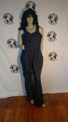 Womens Denim Jumpsuit L Anna Herman USA