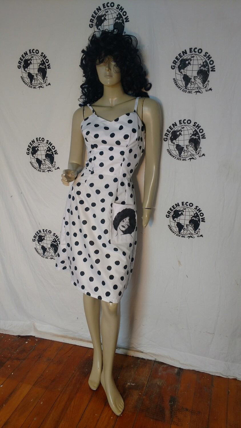 Pokadot dress Black woman S Hermans Eco USA