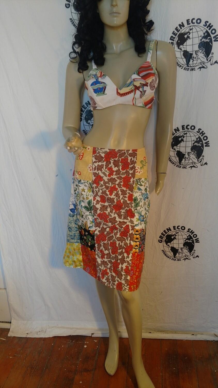 Patchwork Skirt M Anna Herman 28 W