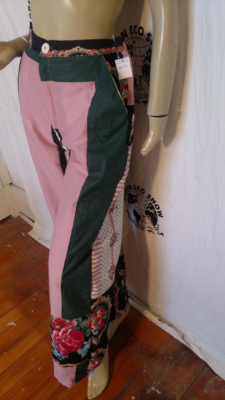 Womens patchwork pants high waisted bells 32