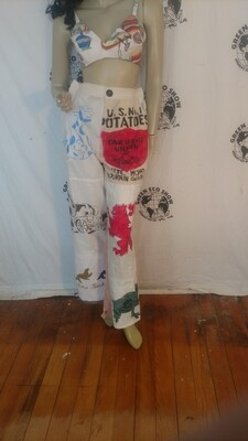 Grafitti Patchwork pants med Anna Herman USA high waisted