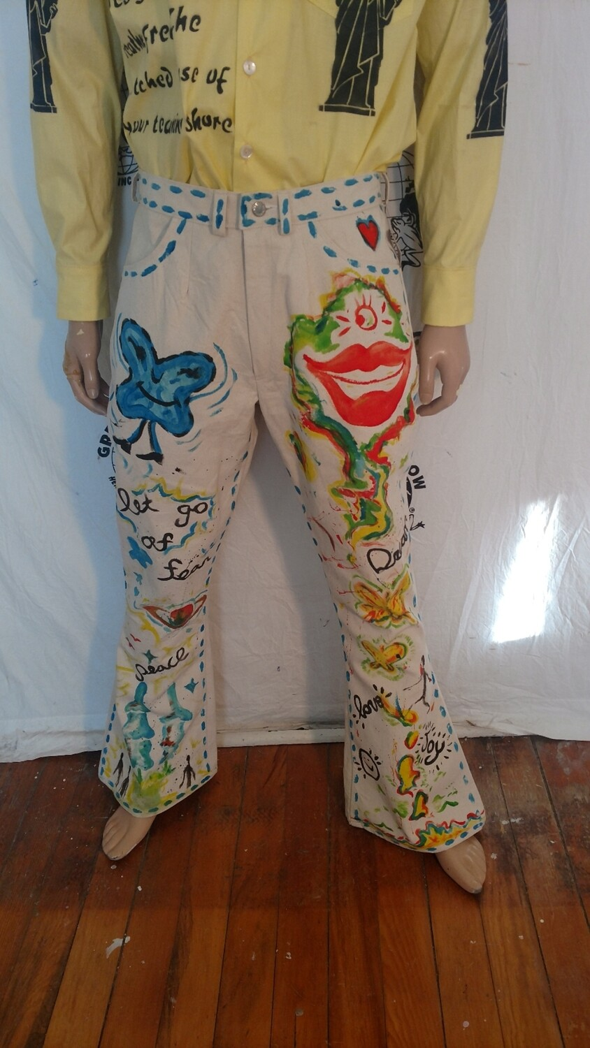 Mens Hand painted Grafitti Jeans 34 Bryson Hermans Eco