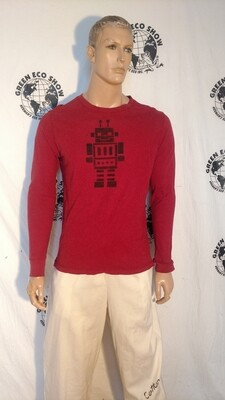 Hermans Hemp oeg cotton long sleeve Robot t shirt Med