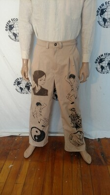 Organic Cotton Asian Pants 32-34 x 31 natural colored Hermans Eco