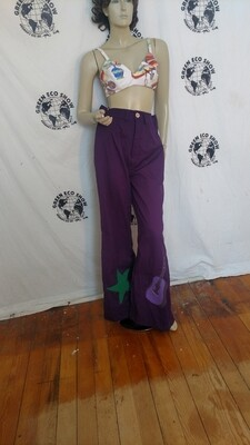 High waisted applique bells pants rhinestones Hermans