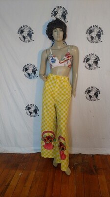 Womens plaid wide leg check pants 30 M