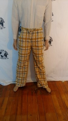 Plaid drawstring pants mens M