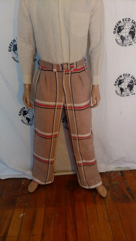 Mens Plaid bedspread pants repurposed 34 X 32