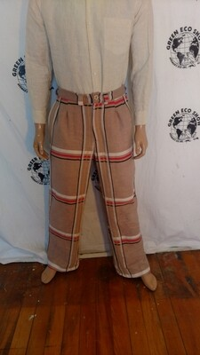 Mens Plaid bedspread pants repurposed 34 X 32