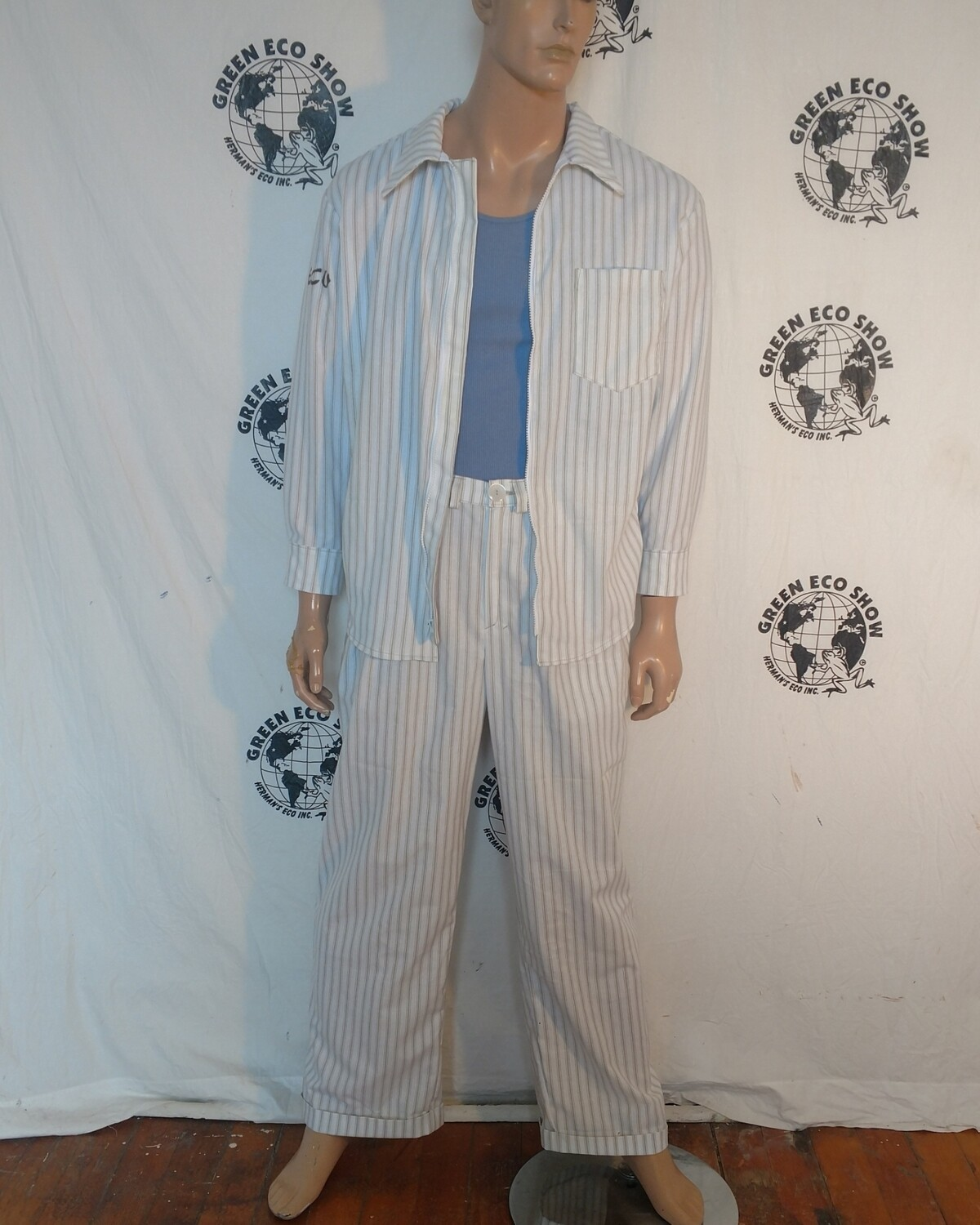 Mens Striped Pants set shirt suit L 34 X 32