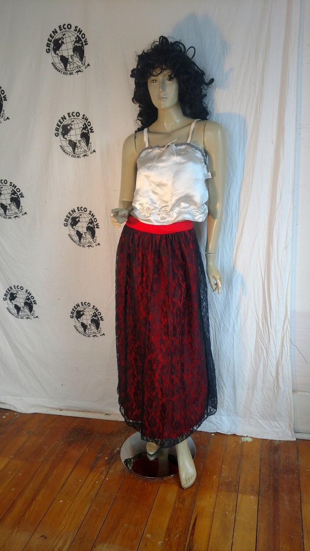 Black lace orange Maxi Skirt 30 Hermans