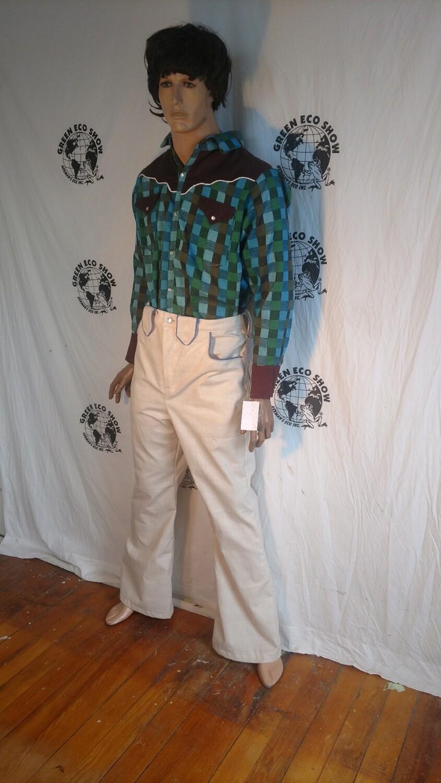 Mens western pants 34 X 32 plaid fancy Hermans