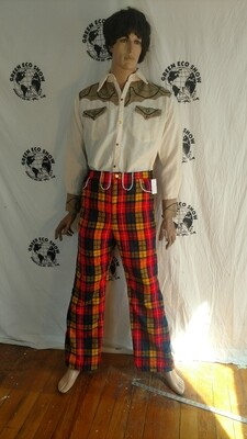 Mens plaid western bells pants 35 Hermans Eco