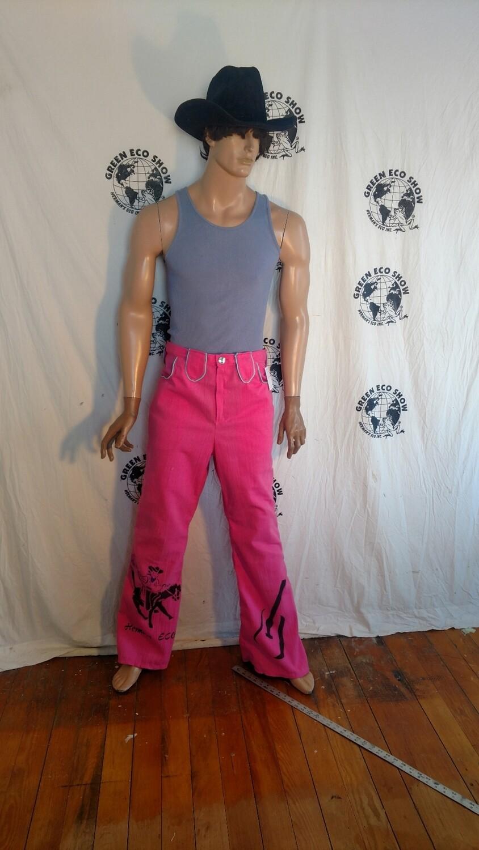 Mens pink western pants 35 bells graphics