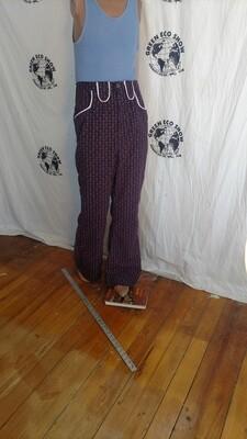 Mens purple western pants piped Hermans
