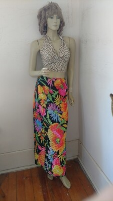 Black Flower Power quilted Skirt 27