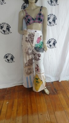 Womens highwaisted patchwork pants 30 x 30 Hermans USA