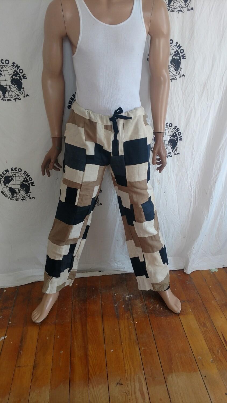 Mens Patchwork Hemp pants M-L Hermans