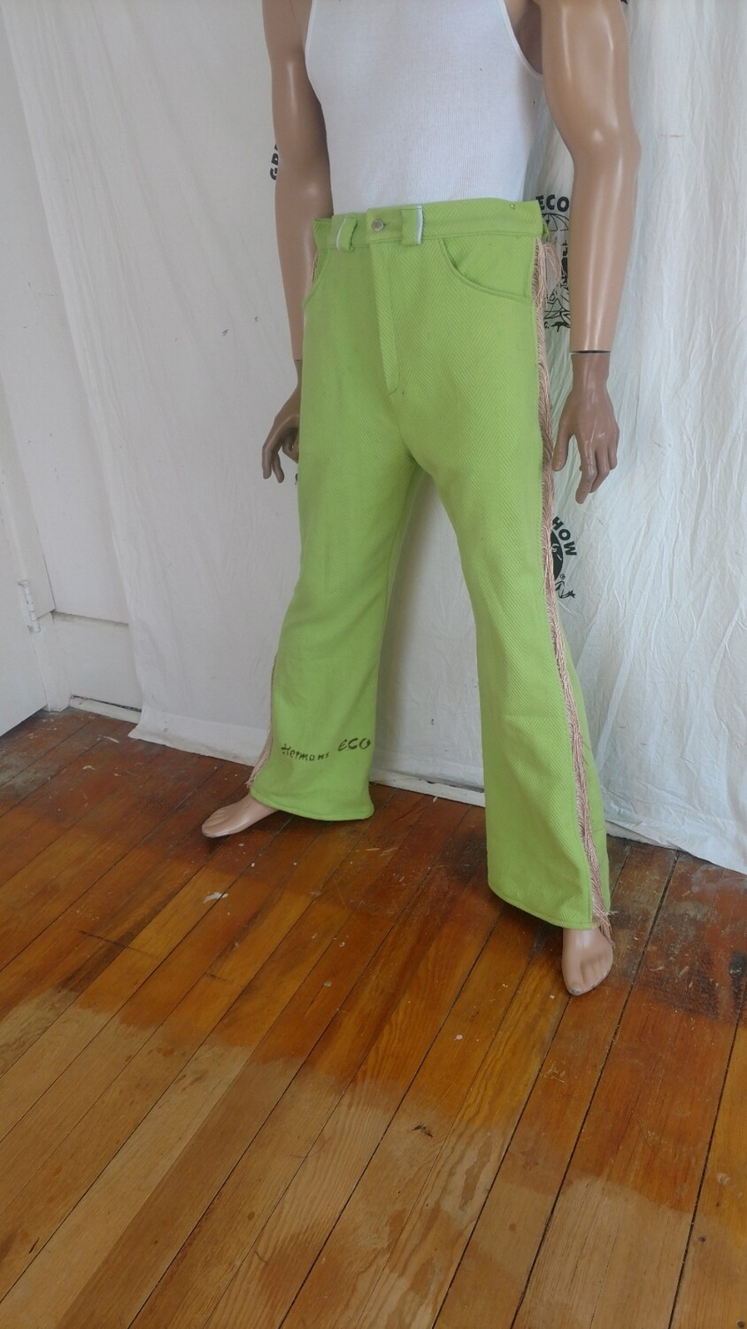 Hermans Eco mens green fringed bell pants jeans