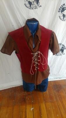Renaissance vest Large noknap corduroy lace up  Hermans