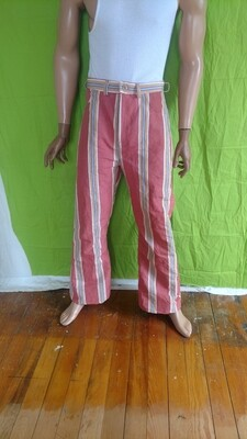 Men's Striped pink high waisted bell bottom pants Jeans 33