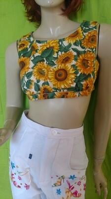 Crop Top Sunflowers Hermans S lined