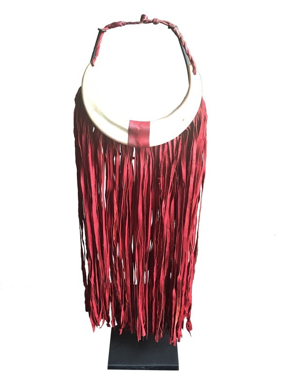 Red Leather Fringed Necklace