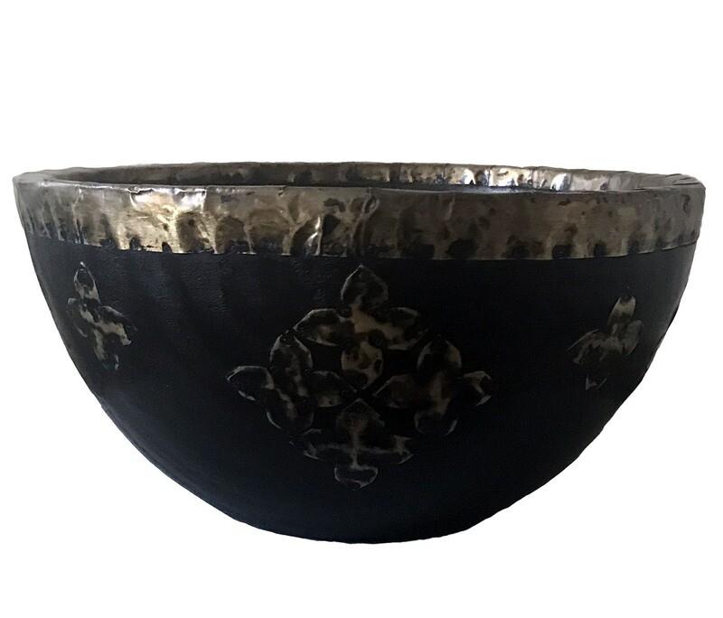 Bowl with Brass Decorations - Medium