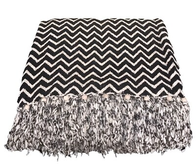 Black and White Beaded Throw Blanket