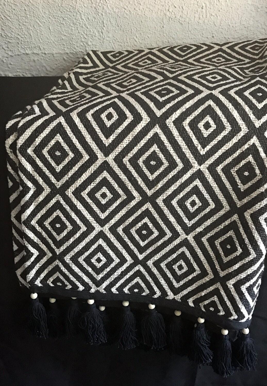 Black and White Fringed Throw Blanket