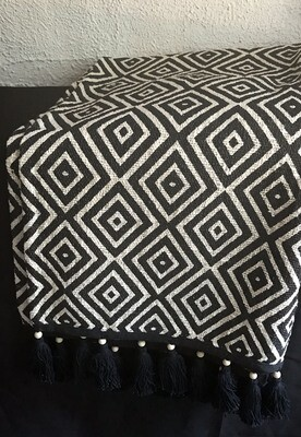 Black and White Fringed Throw Blanket