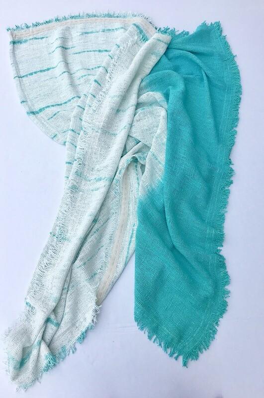 Aqua Tie Dye Fringed Throw