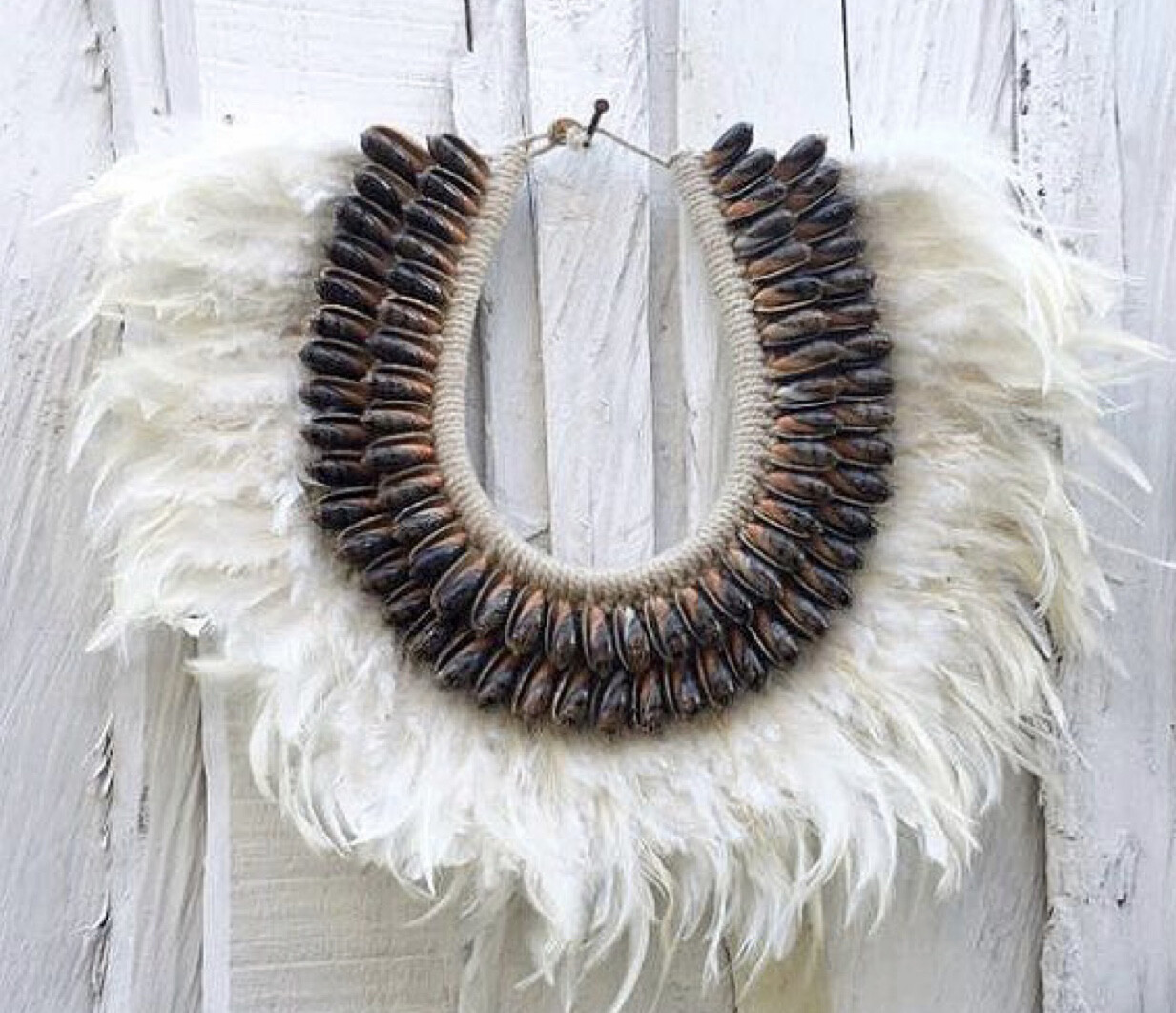 White Feather and Brown Shell Necklace Decor